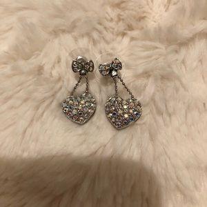 Crystal silver bow heart dangling earrings